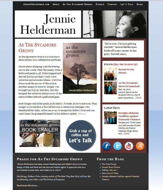 JennieHelderman.com - Author Website showcasing current novel