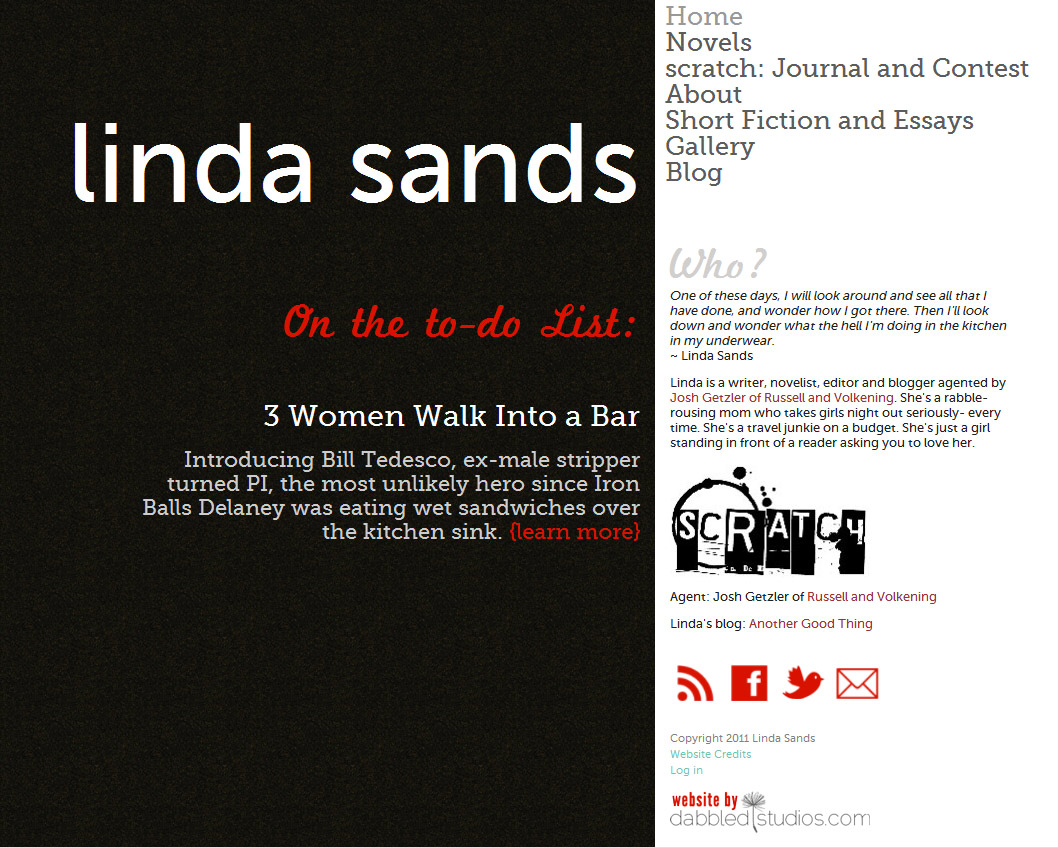 Linda Sands, Writer - website redesign with custom landing pages