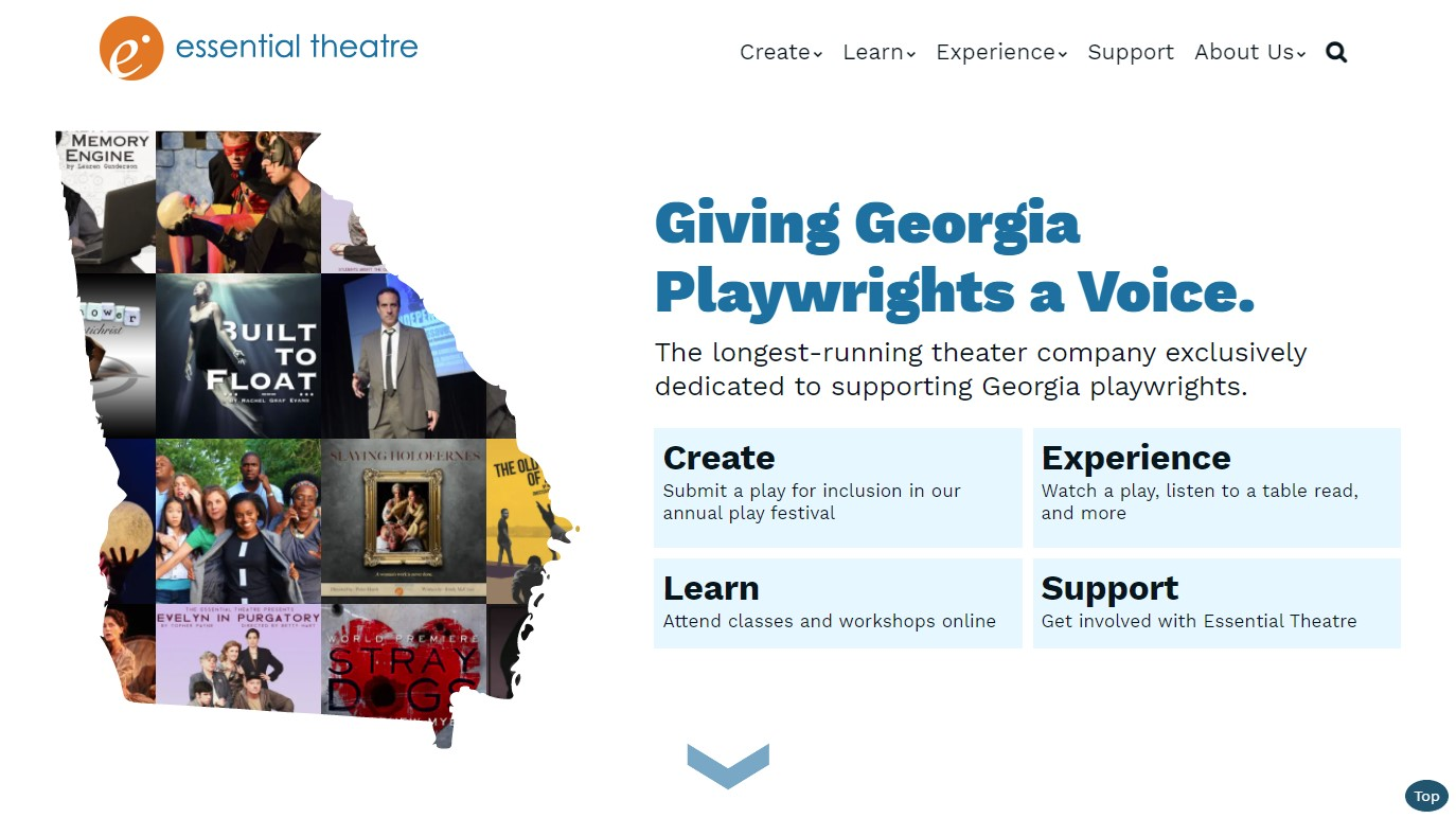 Essential Theatre Home page after redesign